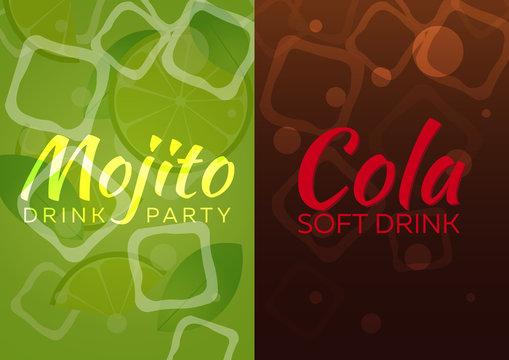 Ice Mojito and Cola poster. Vector illustration.