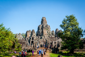 Bayon temple and laterite ruins in Angkor Thom,landmark in Siem Reap, Cambodia. Angkor wat inscribed on the UNESCO World Heritage List in 1992