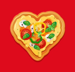 Italian pizza isolated element for pizzeria banner, card. Pizza in the shape of a heart.