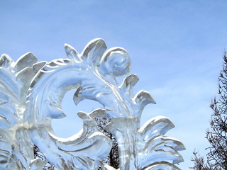 Transparent ice sculpture against the sky