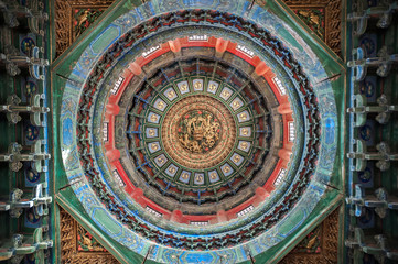 Ornate ceiling inside a pavilion at the Forbidden City, Beijing, China