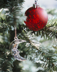 Close-up of Christmas ornament and decoration hanging on pine tree