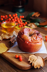 Still life of apple baked with honey