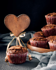 Muffin decorated with wooden heart tag