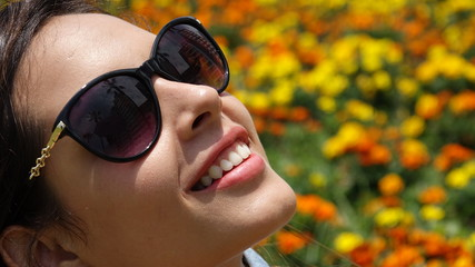 Teen Girl Smiling With Sunglasses