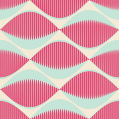 A seamless retro Style Pattern with comb fish eyes in pink and blue