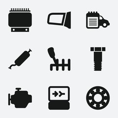 Set of 9 Car Service filled icons