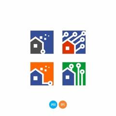 home technology vector logo