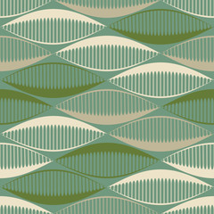 Seamless pattern with stylized seed ribbons in green shades