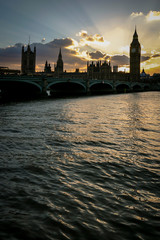 Palace of Westminster dusk silhouette, London.