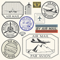 Grunge rubber ink stamps set with plane text air mail