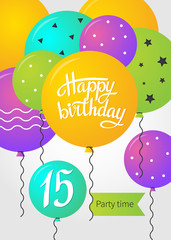 Happy Birthday card template with balloons. 15 years. Vector illustration