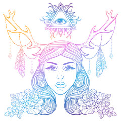 Beautiful girl with horns decorated boho elements. Color vector