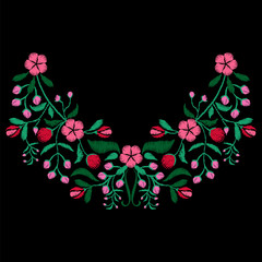 Color embroidery with flower necklace for fabric, textile floral