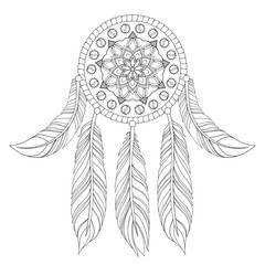 Hand drawn illustration of ethnic dream catcher in zentangle gra