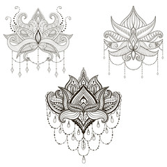 Hand drawn vector Lotus flower set, vector illustration, ornamen