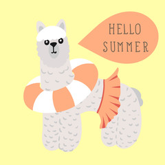 Lama with calligraphy Hello Summer in hand drawn doodle style. V