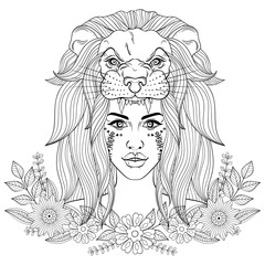 Portrait of boho girl with leon head mask, woman in floral wreat