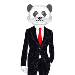 Vector brutal panda in elegant classic suit. Hand drawn anthropo