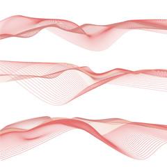 Onde astratte rosse, arte di linee ondulate sullo sfondo bianco, file vettoriale