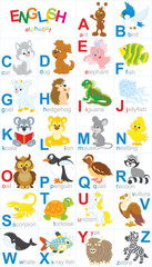 English alphabet with funny animals