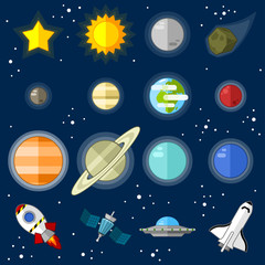 Space icons - vector