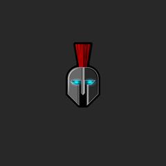 Roman warrior helmet logo ghost ancient fighter with glowing eyes, mockup fight club horror emblem or bodyguard