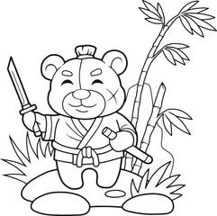 funny teddy bear samurai holding a sword in his hand