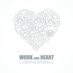 Gears heart for teamwork and love in job