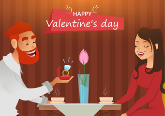Couple in love, romantic evening in restaurant or cafe, young man presents ring with big diamond to his beloved. Greeting card. Date. Present on Valentines day, 8 March, engagement, wedding.