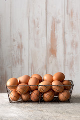 Hen Eggs in Chicken Wire Tray with Copy Space