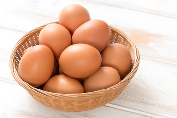Brown Chicken Eggs in Wicker Tray