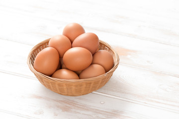 Brown Hen Eggs in Woven Wicker Tray