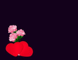 Valentine's day Background with colorful Hears and roses