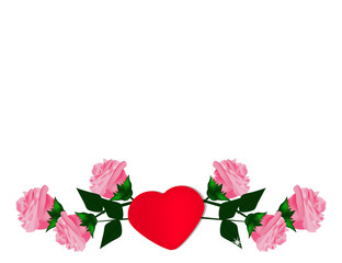 Valentine's day Background with colorful Heart and Roses