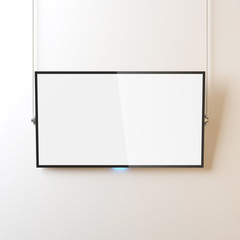 Modern Smart TV panel Mockup with white screen hanging on the wall by ropes, 3d rendering