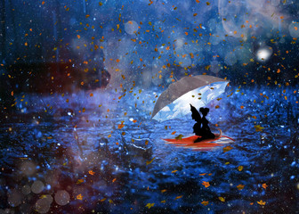 Lonely fairy looking for happiness in rainy day photo manipulation