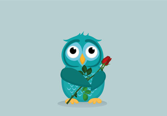 Cute blue owlet waiting to give a  of flower red rose as a gift for Valentine's Day. Greeting card. Empty space for your text or advertisement. Vector illustration on a grey backgroun