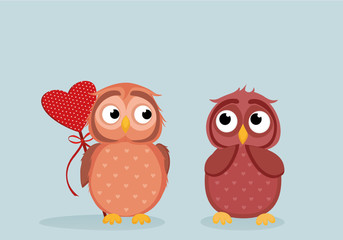 Owlet Cute boy wants to give heart to the Valentine's Day gift to girl owl. She is embarrassed and waiting. Greeting card.