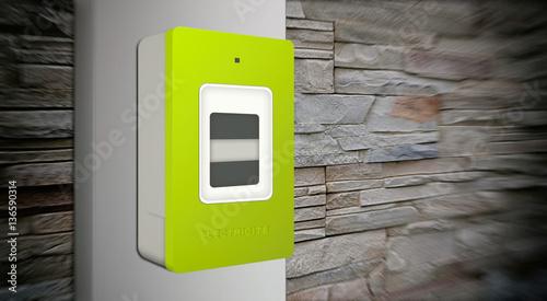compteur lectrique digital communicant linky sur mur de pierre effet flou stock photo and. Black Bedroom Furniture Sets. Home Design Ideas