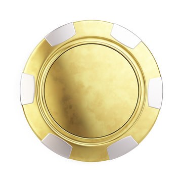 Front view of Gold casino chip isolated on white - 3d render