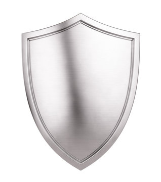 Metal Shield Icon isolated on white background. 3d illustration