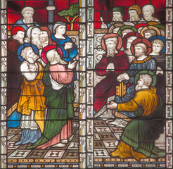 Foto op Plexiglas Stained ROME, ITALY - MARCH 9. 2016: The scene St. Paul on the Council at Jerusalem on the stained glass of All Saints' Anglican Church by workroom Clayton and Hall (19. cent.).