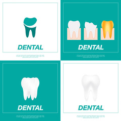 Set tooth icon. Good and bad teeth flat vector illustration EPS10