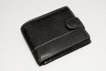 old wallet on white background