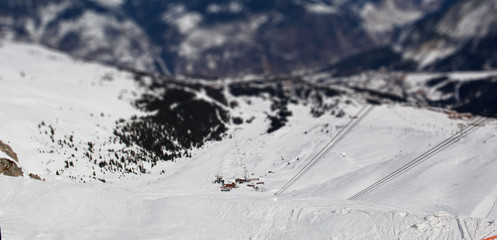 beautiful panorama of Courchevel, French Alps. Tilt Shift effect.