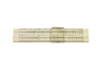 Slide rule, mechanical calculator , isolated on white background. Old Soviet-made pocket.