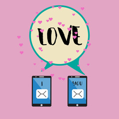 Smartphone and love word.eps10