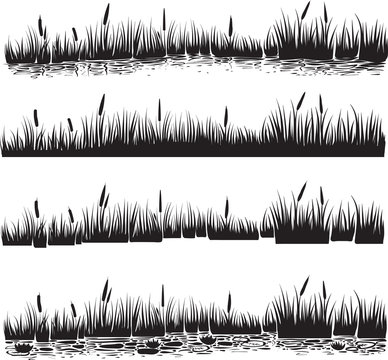 Water plants set of reed or cattails. Silhouette vector.