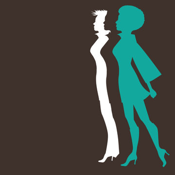 Flat design stylized women marching silhouette with copy space. EPS 10 vector.